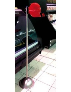 "COLUMNA ACERO INOX. CON DISPENSADOR DE TICKET ""SU TURNO"" ROJO MOD. 080430+480810"